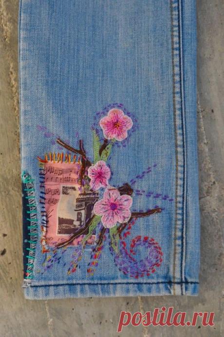 Вышивка на джинсовой одежде. Подборка идей.