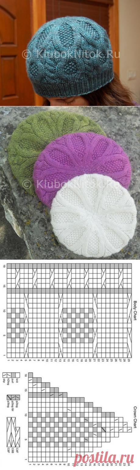 Узорчатый берет | Береты | Вязание спицами и крючком. Схемы вязания.