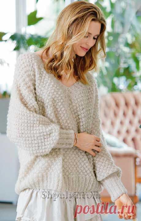 Пуловер с «Розочками» и широкими планками на рукавах — Shpulya.com - схемы с описанием для вязания спицами и крючком