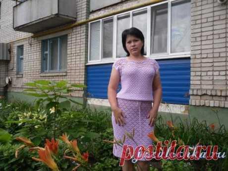 Сиреневое платье крючком от Натальи Шаповал