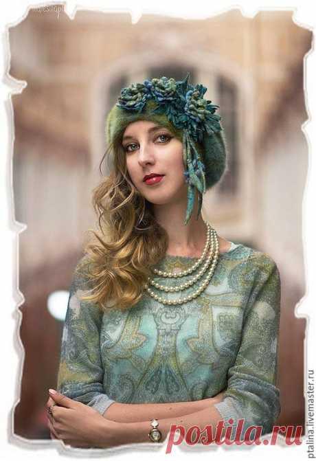 Купить Берет авторский с валяными цветами Фиона - берет, Валяние, авторские головные уборы