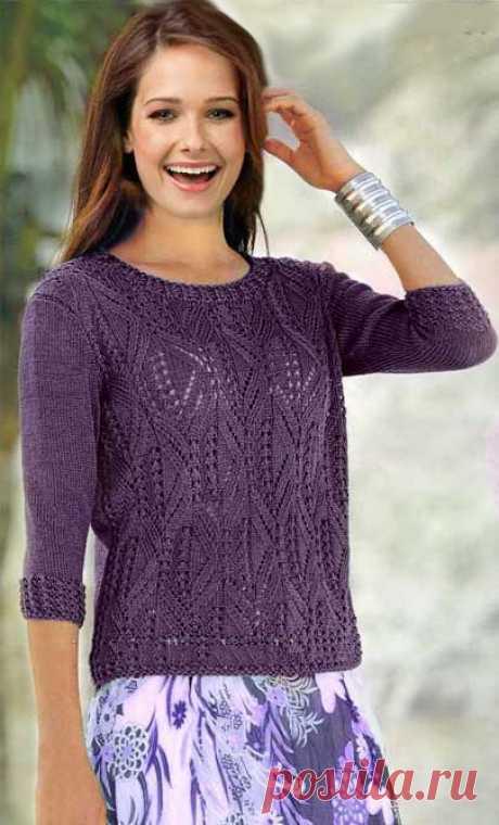 """Пуловер узором """"Ромбы"""" Женский пуловер выполнен по схеме вязания спицами ажурным узором из ромбов. Размеры: 36-38, 40-42 и 44-46.  Если указано только одно значение, оно применяется ко всем 3 размерам."""