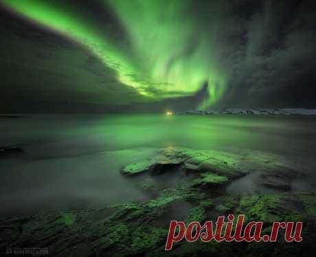 Полярное сияние над Териберкой. Автор фото – Сергей Королёв. Яркой ночи.