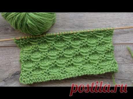 Узор из поперечных протяжек спицами 🐉 Free knitting patterns