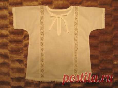 Крестильная рубашка для мальчика с отделкой кружевом — Мастер-классы на BurdaStyle.ru