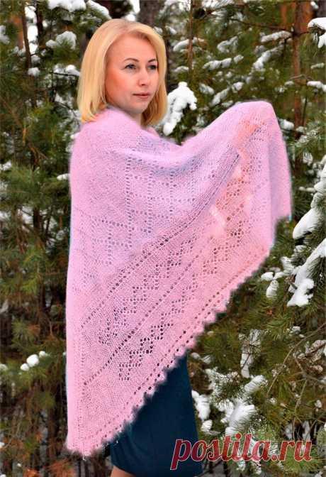 Платок Пуховый платок ручной работы светло розовый, 1.30