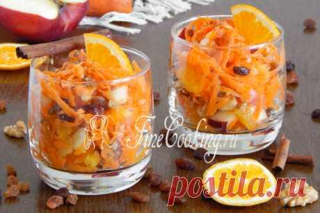 Сладкий салат из моркови, яблока и апельсина. Вкусный, сочный, полезный и быстрый.