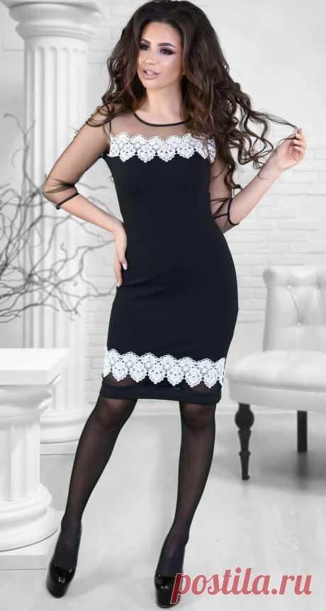 Нарядное платье ,черное с белым кружевом - Платье норма 42-48 - Модные вечерние платья: купить недорого у производителя в розницу, доставка по Украине | Lemanta.com