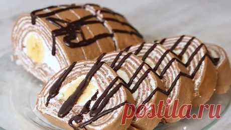 Без Выпечки! Творожный Шоколадный Рулет с Бананом