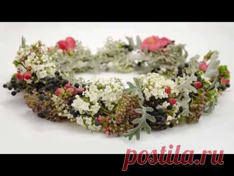 Floristics the Wreath from fresh flowers (Master class) of Floral. Flower. floral wreath tutorial