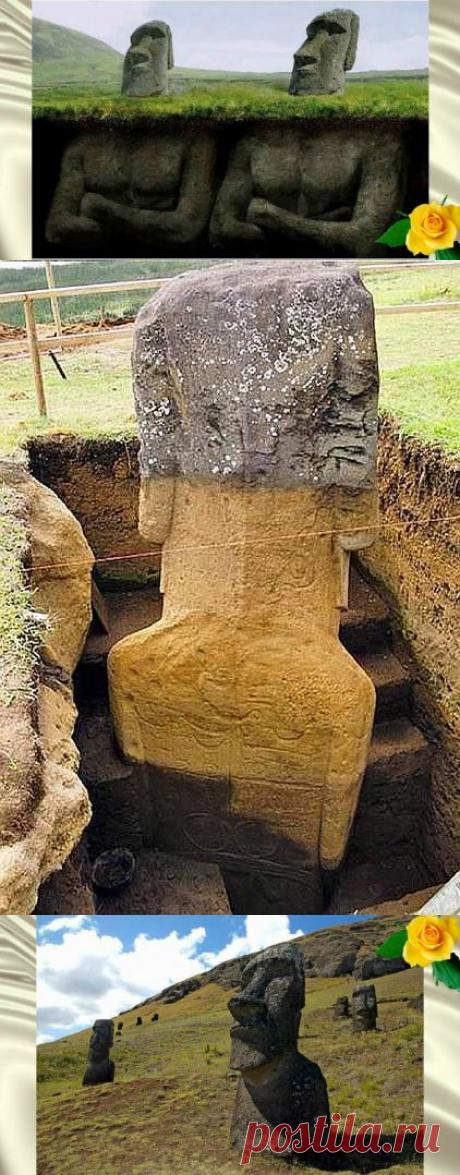 Удивительное открытие - идолы острова Пасхи имеют тела со странными символами