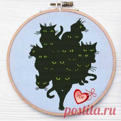 Modern Monochrome Cross Stitch Pattern Black Cats Gang, Funny Cats Cross Stitch, Animals Embroidery Design, Easy Xstitch Pattern Beginners Funny modern easy cross stitch Gang of Black Cats. Very simple embroidery for beginners.  The chart created manually. Worked out even the smallest details of embroidery. No random single stitches. The symbols on the diagram are large and easy to read. A4 PDF pattern to be printed: 1. Picture of
