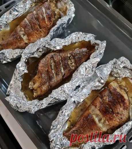 Морской окунь с бальзамико в фольге - Рыба и морепродукты