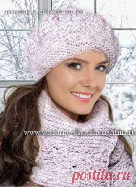 Модные береты спицами 2018-2019 - схемы вязания шапки спицами