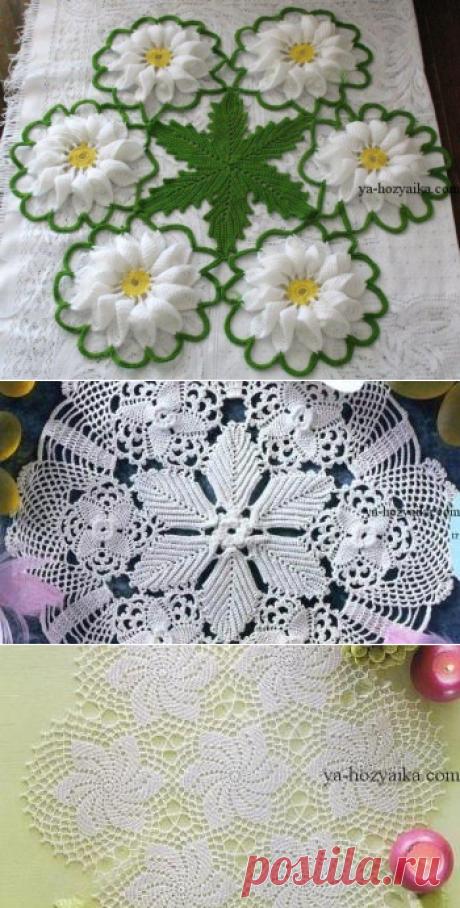 Красивая салфетка из цветочных мотивов. Объемные мотивы крючком схемы