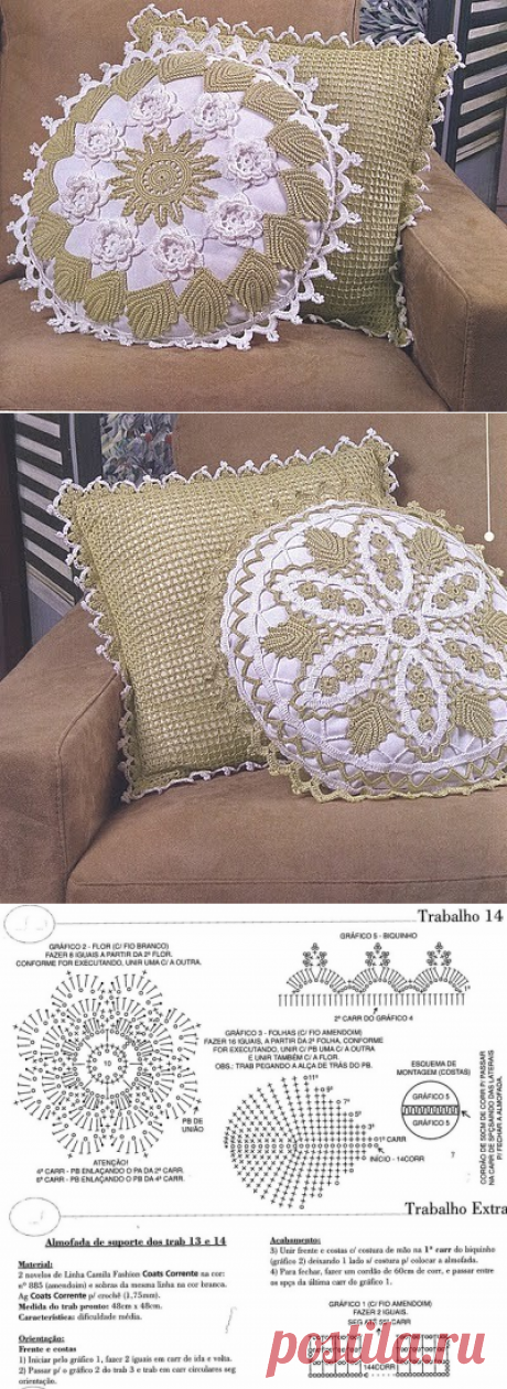 Set of pillows with schemes