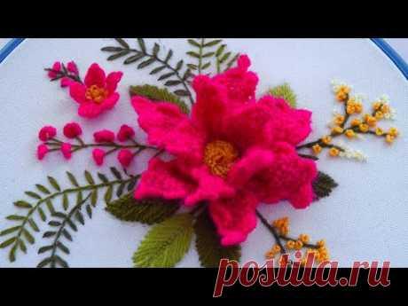 Brazilian Embroidery * Brazilian Flower * Flower embroidery * Needle weaving #malina_gm