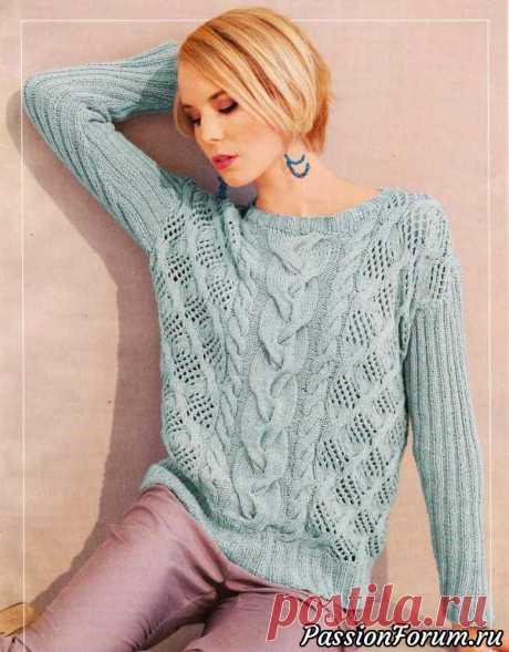 Узорчатый пуловер цвета мяты