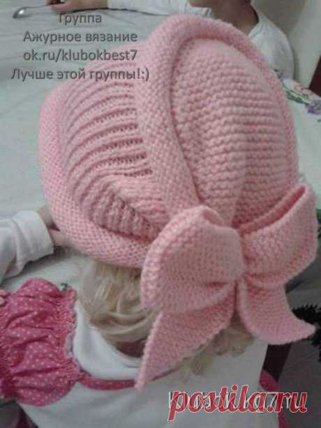 Оригинальная шапочка спицами для девочек | Клубок