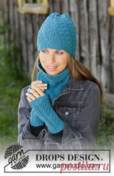 Комплект Зимний твист Чудный комплект для женщин, связанный из мериносовой шерсти на спицах от 3 мм до 4 мм. Вязание всех изделий выполняется...