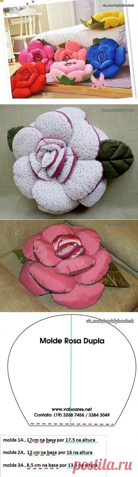 КЛУБОЧЕК - вязание рукоделие.Декоративная подушка-роза