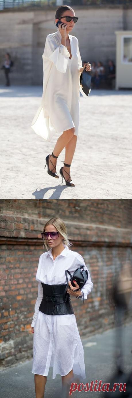 Los vestidos-camisas blancos. Las ideas de las imágenes. — es a la moda \/ Nemodno