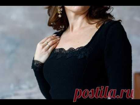 Как связать спицами облегающее черное платье с кружевом. Анонс МК (платного от Миланида) с Клубкофф