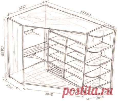 26 отличных идей с чертежами для создания шкафа мечты Все больше и больше людей стали предпочитать шкафы-купе огромным гардеробам и комодам. Они компактны, эргономичны, удобны в использовании и помогают сохранить пространство в помещении. Поэтому сегодня мы хотим предложить вам 26 отличных идей с чертежами для создания шкафа мечты! Угловой шкаф-купе...