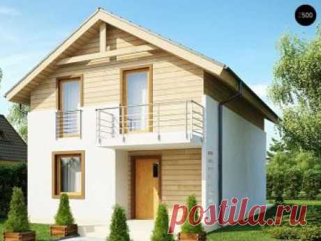Двухэтажный дом с балконом + схема проекта