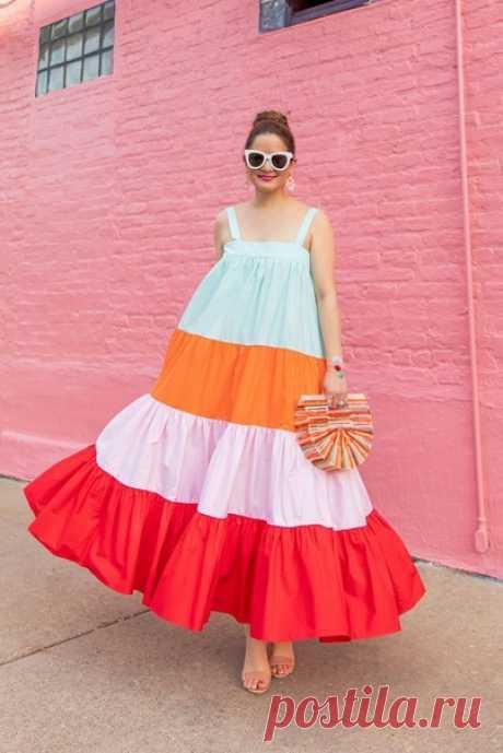 многоярусные разноцветные платья и сарафаны Идеи для вашего швейного хобби