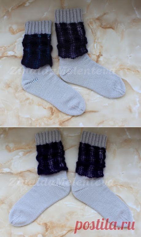 Вяжем вместе: Женские носки с ажурной вставкой из мохера