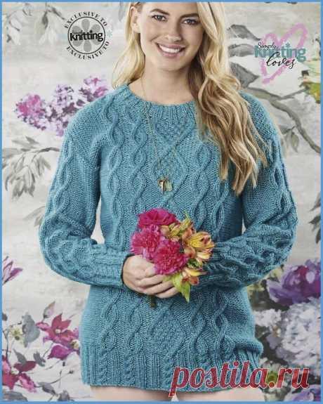Вязание спицами - Джемпера спицами - Джемпер с косами и аранами из журнала Simply Knitting №207 2021