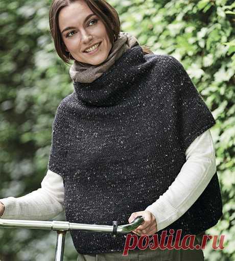 Свитер-пончо с короткими рукавами - схема вязания спицами. Вяжем Свитеры на Verena.ru