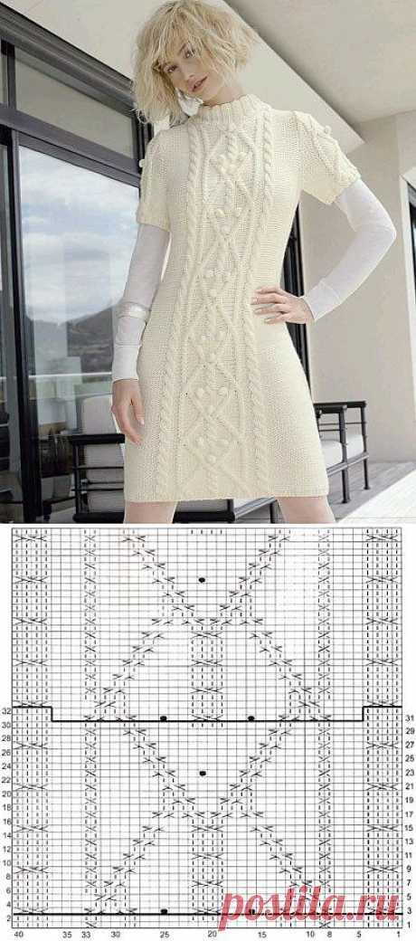 Вязаное платье сарафан - схема и описание.