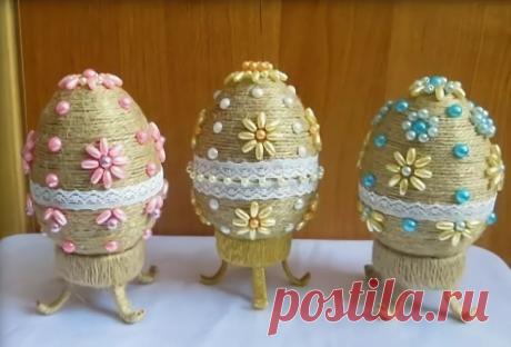Пасхальные яйца из шпагата (мастер-класс) » Женский Мир