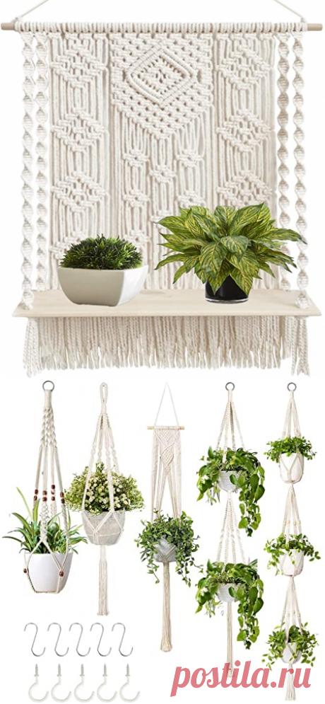 Amazon.com: Macrame Wall Hanging Plant Decor Shelf Indoor Outdoor Floating Wood shelve Decorative Hand Made Rope Boho Shelving for Plants: Kitchen & Dining