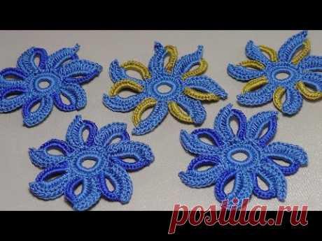 La labor de punto de la FLOR por el gancho. La lección del encaje irlandés. Lesson Irish lace knitting.