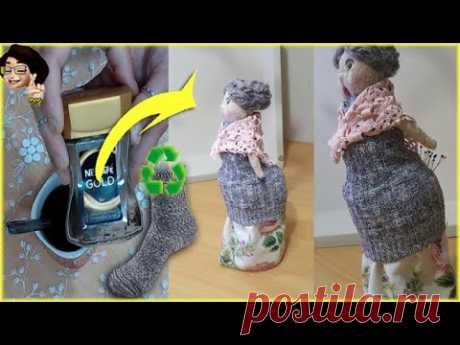 #DIY | Çoraptan Bebek Yapımı | Kavanoz Süsleme | #jar #reuse #newidea - YouTube