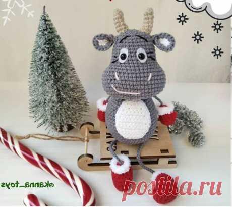 Схема вязания новогоднего бычка крючком с описанием работы Схема вязания новогоднего бычка в стиле амигуруми от автора @kanna_toys. До Нового 2021 года осталось совсем чуть - чуть и сейчас самое время начать