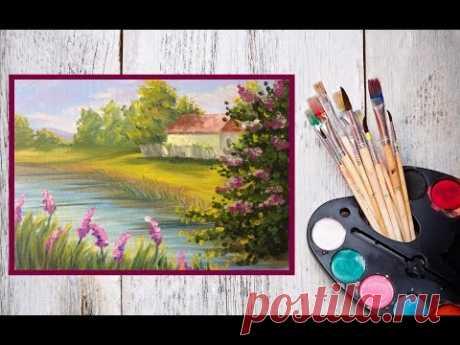 """Видео урок Как написать картину МАСЛОМ """"На берегу реки""""! #Dari_Art"""