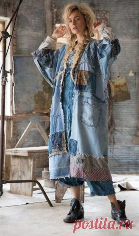 Вечная тема лоскутного творчества в джинсовой одежде