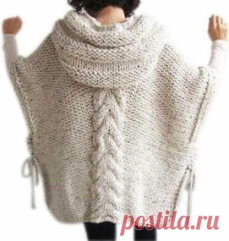 Пончо с капюшоном,спицами. Идея для любителей вязания.