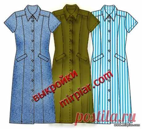 Платье рубашка в трех стилях: классика, милитари, джинсовый.  Готовые выкройки бесплатно
