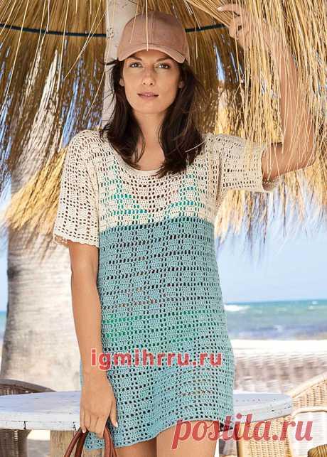 Двухцветное летнее мини-платье с цельновязаными рукавами. Вязание крючком со схемами и описанием