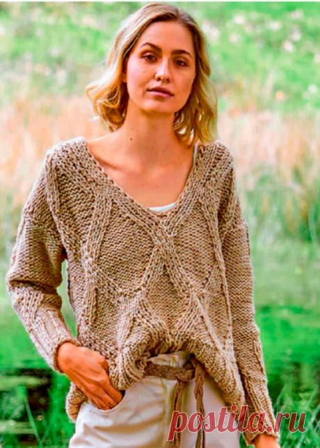 Пуловер, связанный ромбами, простой и эффектный узор | Рукоделие