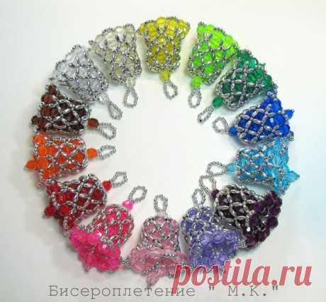Бисероплетение для начинающих.  Новогодние колокольчики из бусин. Схема плетения. Мастер-класс.