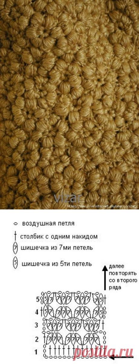 """""""Каракулевый"""" узор крючком"""