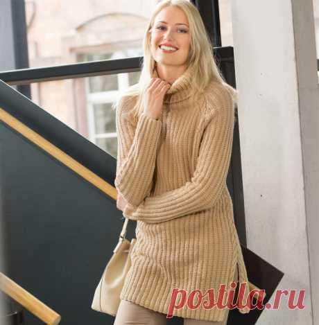 Удлиненный свитер цвета карамели спицами из категории Интересные идеи – Вязаные идеи, идеи для вязания