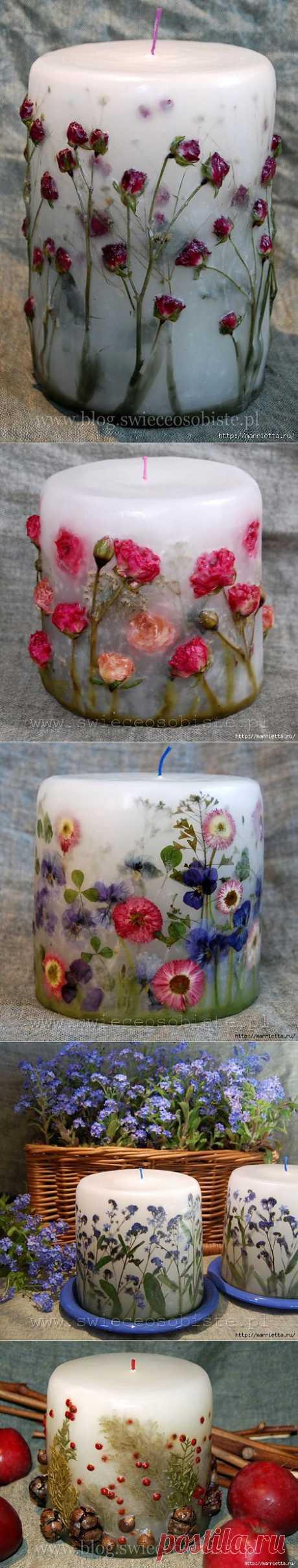 Цветочные свечи ручной работы.
