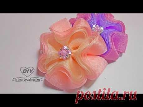 3D бантик из органзы МК/DIY 3D ribbon bow/PAP Laço de fita 3D#185
